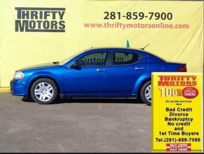 2014 Blue Dodge Avenger (1C3CDZAB8EN) with an 2.4L I4 2.4L I4 engine, Automatic 6-Speed transmission, located at 4509 Highway 6 North, Houston, TX, 77084, (281) 859-4646, 29.848997, -95.645760 - Photo #0