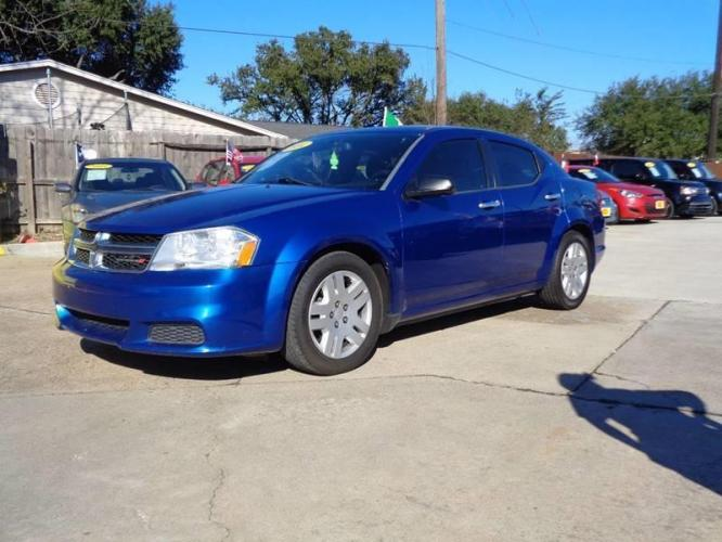 2014 Blue Dodge Avenger (1C3CDZAB8EN) with an 2.4L I4 2.4L I4 engine, Automatic 6-Speed transmission, located at 4509 Highway 6 North, Houston, TX, 77084, (281) 859-4646, 29.848997, -95.645760 - Photo #1