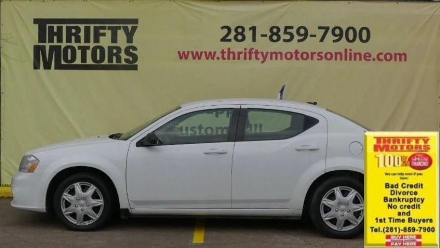 2014 White Dodge Avenger (1C3CDZAG9EN) with an 3.6L V6 3.6L V6 engine, Automatic 6-Speed transmission, located at 4509 Highway 6 North, Houston, TX, 77084, (281) 859-4646, 29.848997, -95.645760 - Photo #0