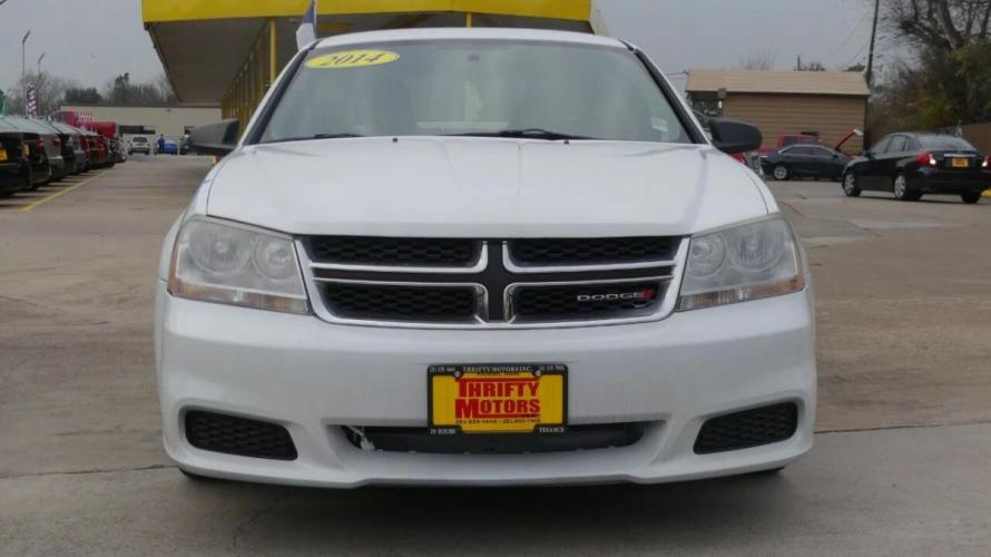 2014 White Dodge Avenger (1C3CDZAG9EN) with an 3.6L V6 3.6L V6 engine, Automatic 6-Speed transmission, located at 4509 Highway 6 North, Houston, TX, 77084, (281) 859-4646, 29.848997, -95.645760 - Photo #1
