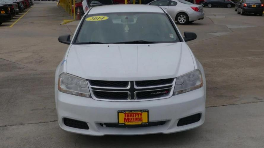 2014 White Dodge Avenger (1C3CDZAG9EN) with an 3.6L V6 3.6L V6 engine, Automatic 6-Speed transmission, located at 4509 Highway 6 North, Houston, TX, 77084, (281) 859-4646, 29.848997, -95.645760 - Photo #2