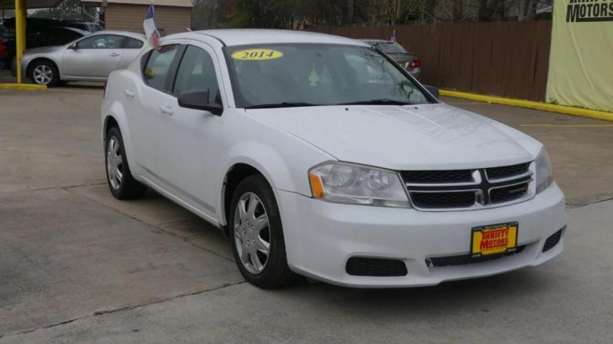 2014 White Dodge Avenger (1C3CDZAG9EN) with an 3.6L V6 3.6L V6 engine, Automatic 6-Speed transmission, located at 4509 Highway 6 North, Houston, TX, 77084, (281) 859-4646, 29.848997, -95.645760 - Photo #3